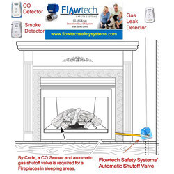 """NG/LP Gas Fireplace Safety System with CO Detector, Control Panel and 1"""" Automatic Gas Shutoff Valve Product Image"""