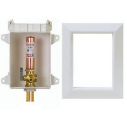 "Ox Box Ice Maker Outlet Box w/ Water Hammer Arrestor - 1/2"" Male PEX Connection"