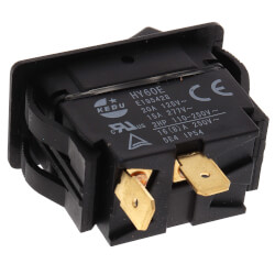 On-Off SPST Black Rocker Switch with Spade Termination (125/227V) Product Image