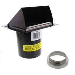 "3"" or 4"" Round Duct Black Wall Cap w/ Damper Product Image"