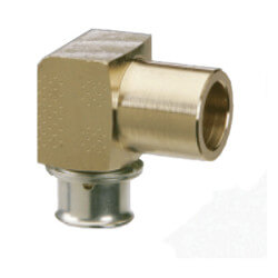 "Bronze 1/2"" PEX Press x 1/2"" (F) or 3/4"" (M) Copper Fitting or Tubing Elbow w/ Attached Sleeve"
