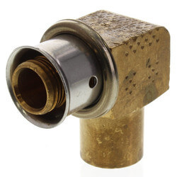 "Bronze 1/2"" PEX Press x 1/2"" Copper (M) Fitting Elbow w/ Attached Sleeve"