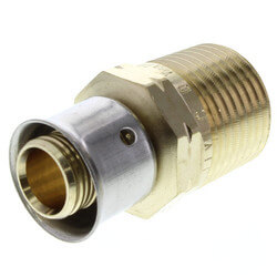"Zero Lead Bronze 1/2"" PEX Press x 1/2"" M NPT Adapter w/ Attached Sleeve"
