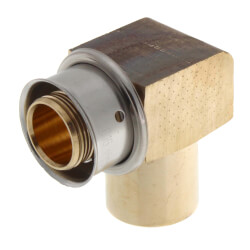 "Zero Lead Bronze 3/4"" PEX Press x 1/2"" (female) or 3/4"" (male) Copper Fitting or Tubing Elbow w/ Attached Sleeve"