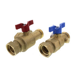 TruFLOW Manifold Supply and Return Ball Valves, Set of 2 (w/ Filter & Temp. Gauge)