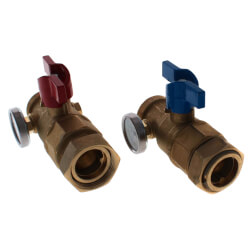 TruFLOW Manifold Supply and Return Ball Valves, Set of 2 (w/ Temp. Gauge) Product Image