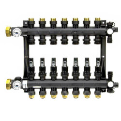 7-Loop EP Radiant Heat Manifold Assembly w/ Flow Meters