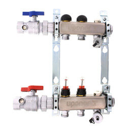 """2-Loop 1"""" Stainless Steel Radiant Heat Manifold Assembly w/ Flow Meter Product Image"""