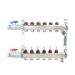 """6-Loop 1"""" Stainless Steel Radiant Heat Manifold Assembly w/ Flow Meter Product Image"""