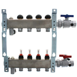 """4-Loop 1-1/4"""" SS Radiant Heat Manifold Assembly w/ Flow Meter Product Image"""