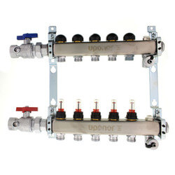 """6-Loop 1-1/4"""" SS Radiant Heat Manifold Assembly w/ Flow Meter Product Image"""