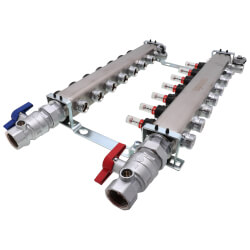 """7-Loop 1-1/4"""" SS Radiant Heat Manifold Assembly w/ Flow Meter Product Image"""