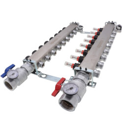 """8-Loop 1-1/4"""" SS Radiant Heat Manifold Assembly w/ Flow Meter Product Image"""