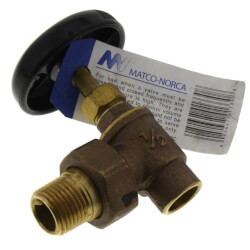 "3/4"" (Solder x Male Union) Hot Water Angle Radiator Valve Product Image"