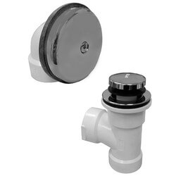 Bath Waste T-Waste Half Kit - CP Toe Pop-Up Drain w/ 1 Hole Face Plate (PVC)