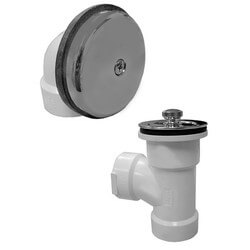 Bath Waste T-Waste Half Kit - CP Lift & Turn Drain w/ 1 Hole Face Plate (PVC)