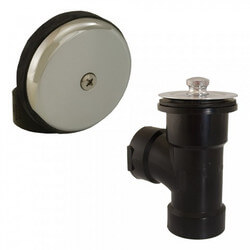 Bath Waste T-Waste Half Kit - CP Friction Lift Drain w/ 1 Hole Face Plate (ABS) Product Image
