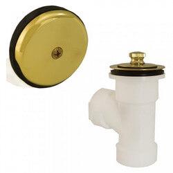 Bath Waste T-Waste Half Kit - PB Friction Lift Drain w/ 1 Hole Face Plate (PVC) Product Image
