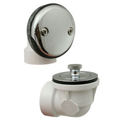 Bath Waste Std. Half Kit<br>CP Lift & Turn Drain<br>w/ 2 Hole Face Plate (PVC) Product Image