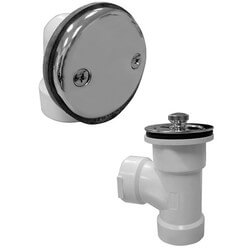 Bath Waste T-Waste Half Kit - CP Brass Lift & Turn Drain w/ 2 Hole Face Plate (PVC)