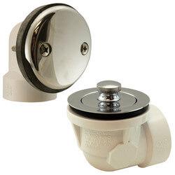 Bath Waste Std. Half Kit<br>CP Brass Lift & Turn Drain w/ 2 Hole Face Plate (PVC) Product Image