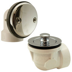 Bath Waste Std. Half Kit<br>CP Brass Lift & Turn Drain w/ 2 Hole Face Plate (ABS) Product Image