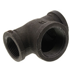 """3/4"""" x 3/4"""" x 1-1/4"""" Black Malleable Iron Reducing Tee Product Image"""