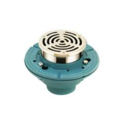 "2"" No-Hub Adjustable Floor Drain w/ 4"" CP Brass Strainer Product Image"