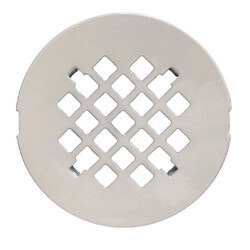 "4-1/4"" White Snap-In Shower Drain Strainer"