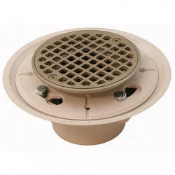 "2"" x 3"" Pearl Nickel Shower Drain w/ 4-1/4"" Round Strainer"