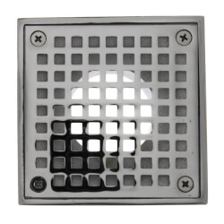 "4"" Square Strainer<br>w/ 2"" Brass Spud<br>(Chrome Plated) Product Image"