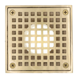 "4"" Square Strainer<br>w/ 2"" Brass Spud<br>(Polished Brass) Product Image"