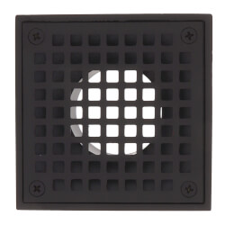 "4"" Square Strainer<br>w/ 2"" Brass Spud<br>(Oil Rubbed Bronze) Product Image"