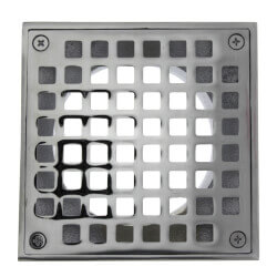"5"" Square Strainer<br>w/ 3-1/2"" Metal Spud (Chrome Plated) Product Image"