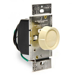 Dim 'n' Glo Single Pole Rotary Dimmer with Push On/Off Knob and Locator Light (Ivory)