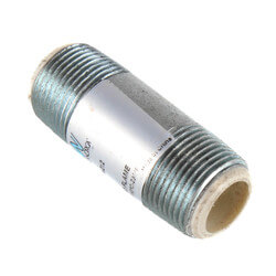"1-1/2"" x 4"" Galvanized Steel Dielectric Nipple w/ Pex Insulator"