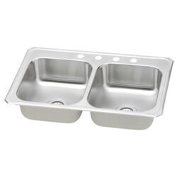 "Double Bowl Sink 33"" x 21.25""- Stainless Steel (3 Faucet Holes)"