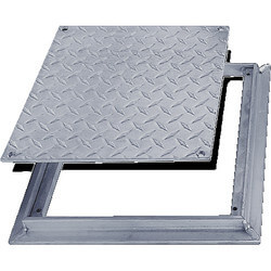 "24"" x 24"" FD-8060 Non<br>Hinged: Flush Diamond<br>Plate Floor Door Product Image"