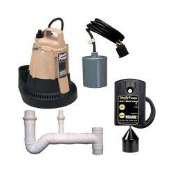 1/3 HP Sump Pump w/ Pipe Nipple - Pump Switch & Alarm w/ Alarm Float