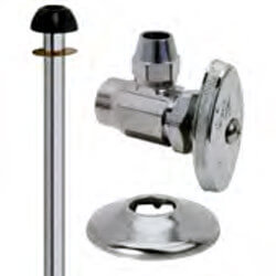 "1/2"" Sweat x 1/2"" Flare Toilet Supply Kit - Angle Stop, 11"" (Chrome) Product Image"