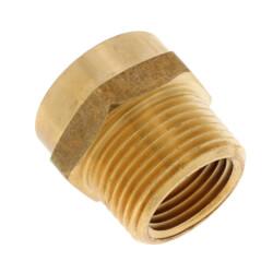 "3/4"" FHT x 3/4 NPT (FIP Tap) Brass Garden Hose Adapter Product Image"