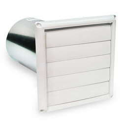 "HS Series Plastic Louvered Shutter w/ Tailpiece, 6"" Duct"