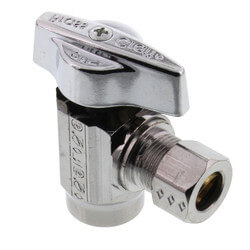 "1/2"" Nom. Sweat x 3/8"" O.D. Compr. Stop Valve, 1/4-Turn, Lead Free (Chrome) Product Image"