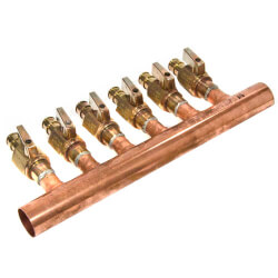 "1"" Copper Manifold w/ 1/2"" Lead Free ProPEX Ball Valves (6 Outlets) Product Image"