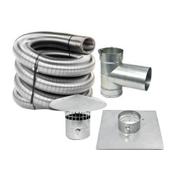 "30' x 5.5"" Stainless Steel Single Wall Chimney Lining Kit"