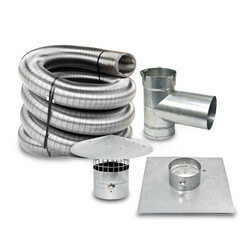 "30' x 5"" Stainless Steel Single Wall Chimney Lining Kit"