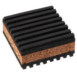 "Rubber/Cork Anti-Vibration Pad, 6"" x 6"" x 7/8"""