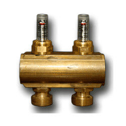 "2 Loop 1-1/4"" Supply manifold w/ Balancing Valves & Flow Meters (Includes Mounting Bracket) (EK20)"
