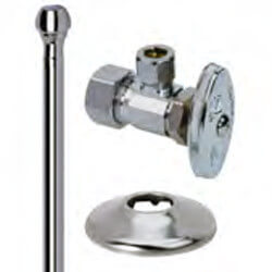 "1/2"" x 3/8"" Compression Faucet Supply Kit - Angle Stop, 12"" (Chrome) Product Image"