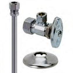 "1/2"" x 3/8"" Compression Faucet Kit, KC Nosepiece, Angle Stop, 12"" (Chrome) Product Image"